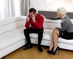 KINKY INLAWS - Squirting Ukrainian blonde stepmom fucks stepdaughter'_s boyfriend