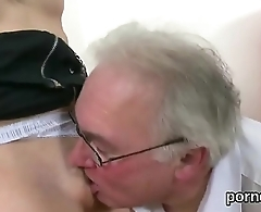 Cuddly college girl is tempted and pounded by her older mentor