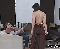 Curvy Leia gagging on lucky nerds cock