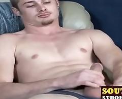 Kinky twinkie Joe strokes his immense cum gun and cums