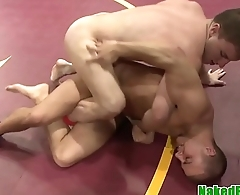 Wrestling hunk sub masturbating until cumshot