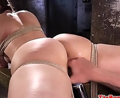 Restrained submissive fingered and pussytoyed