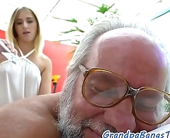 Teen masseuse fucked off out of one's mind lucky grandpa