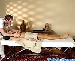 Busty massage babe sucking her masseur