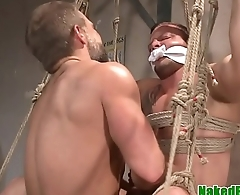 Bondage hunk assfucked after wrestling