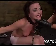 Nasty brunette in latex in wild servitude