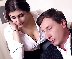 BUMS BUERO - Boss fucks the man German secretary and cums on her big tits