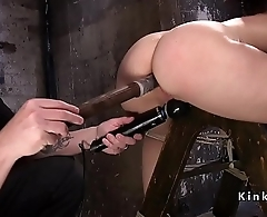 Slave tied respecting on wooden ladder got anal