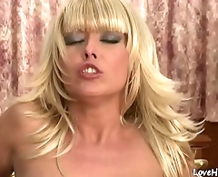 Blonde chick is moaning lustfully while riding cock