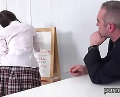 Fervid schoolgirl gets tempted and nailed by will not hear of elder teacher