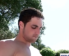 Muscle jock gets his ass fucked outdoors