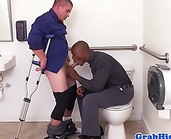Hustling black stud assfucked at the restroom