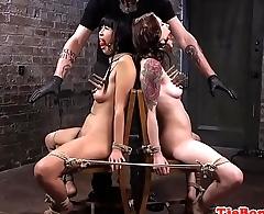 Tiedup sluts pussylicking while punished