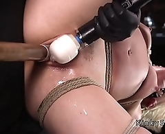 Blonde slave fucked in rope fracture