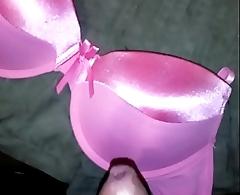 cum pink satin bra