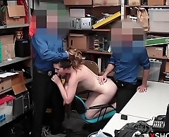 Teen shoplifting busted and fucked by two sheet anchor guys