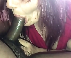 Old lady friend sucks black cock together with swallows again