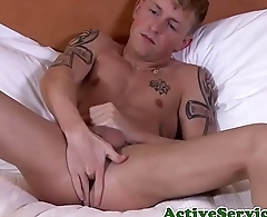 Inked army stud arrhythmic off with passion
