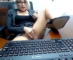 girl in office discretion masturbating