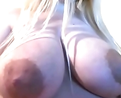 Girl playing with the brush giant boobs