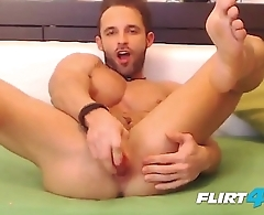 Ripped Flirt4Free Hunk Gustavo Muscle Loves Sliding a Dildo in His Ass