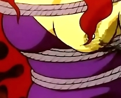 Devilman enjoys hurting yellow girl'_s tits in a bondage style apart from whipping.