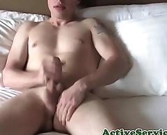 Solo military jock masturbating and fingering