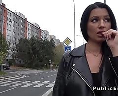 Raven haired busty pet fucks in public
